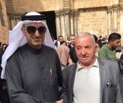 في استقبال الوفد من دول الخليج ( وزير بحريني) في زيارته لكنيسة القيامة