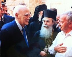 Mr. Wajih Nuseibeh greets the Roman Patriarch Allarrothodquis Tephelios