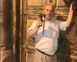 Mr. Wajeeh Nuseibeh, the Care Taker of the KEY to the Church of the Holy Sepulchre closes the doors of the Basilica. September 11th, 2018