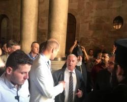 Mr. Wajeeh Nuseibeh receives Prince William the Duke of Cambridge at the Church of the Holy Sepulcher in  occupied East Jerusalem.