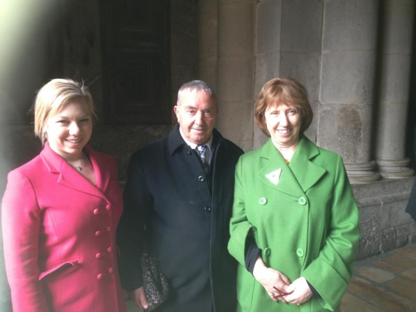 Mr. Wajeeh Nuseibeh with the President of Poland- Bronis?aw Komorowski and Catherine Ashton - Vice-President of the European Commission at the Church of the Holy Sepulcher in Jerusalem.. — with Wajeeh Nuseibeh